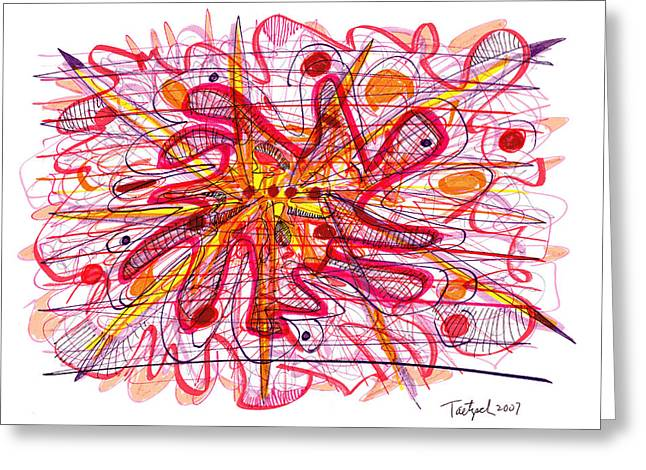 Abstract Pen Drawing Fifteen Greeting Card by Lynne Taetzsch