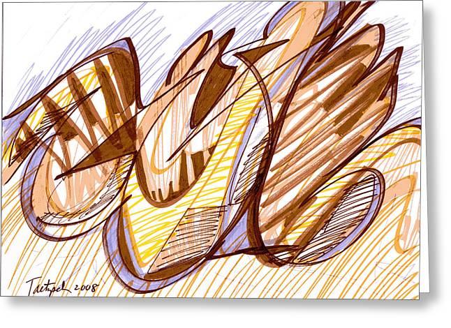 Abstract Pen Drawing Nine Greeting Card