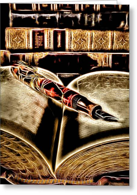 Abstract Pen On Book Greeting Card