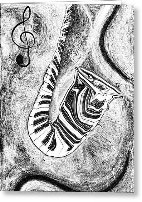 Piano Keys In A Saxophone 2 - Music In Motion Greeting Card