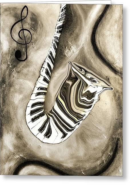 Piano Keys In A Saxophone 3 - Music In Motion Greeting Card