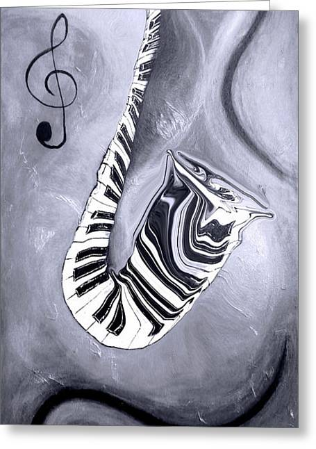Piano Keys In A Saxophone 5 - Music In Motion Greeting Card