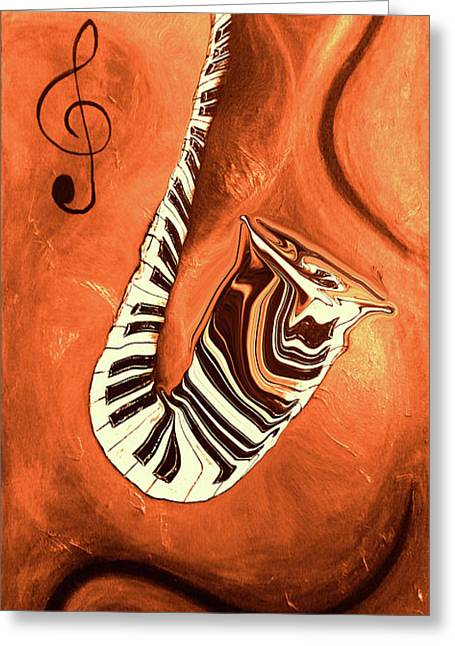 Piano Keys In A Saxophone - Music In Motion Greeting Card