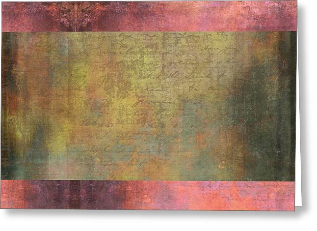 Abstract Pink And Green Metallic Rectangle Greeting Card by Brandi Fitzgerald