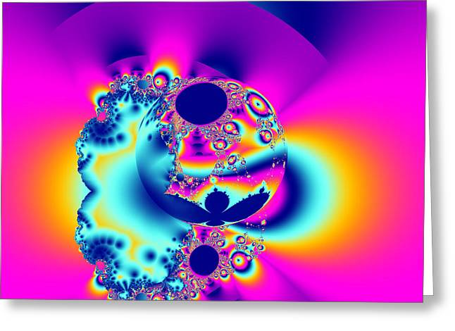 Abstract Pink And Turquoise Fractal Globe Greeting Card