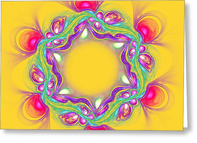 Abstract Pink Flower On Yellow Background Greeting Card