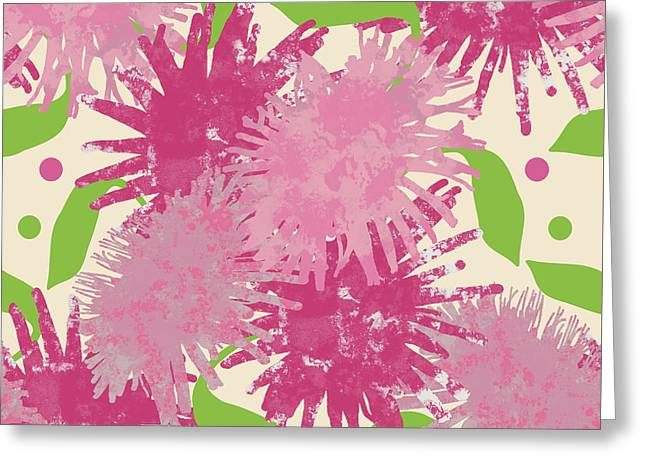 Abstract Pink Puffs Greeting Card