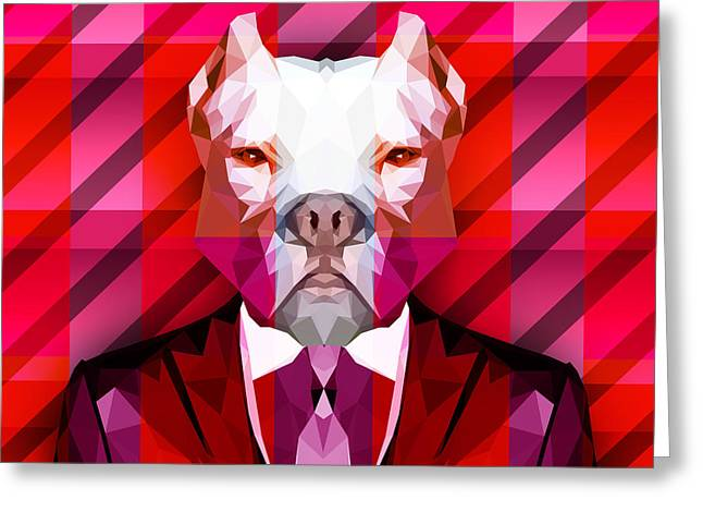 Abstract Pitbull 1 Greeting Card by Gallini Design