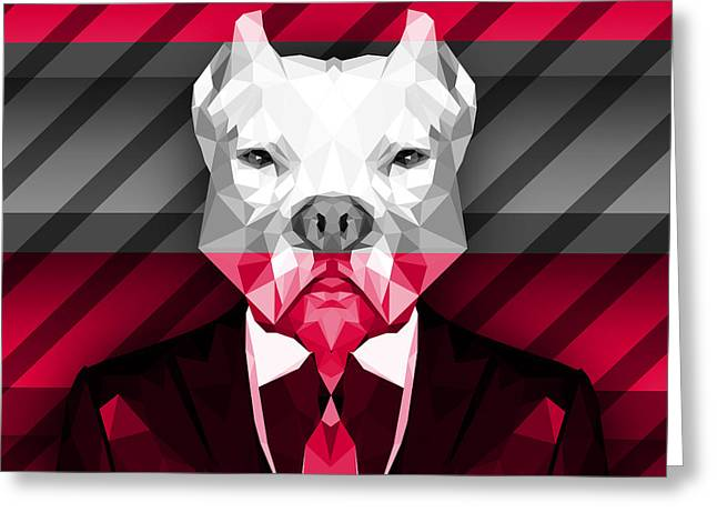 Abstract Pitbull 2 Greeting Card by Gallini Design