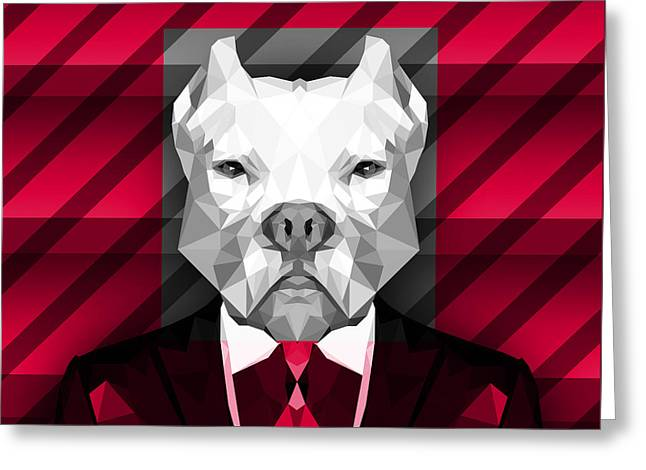 Abstract Pitbull 3 Greeting Card by Gallini Design