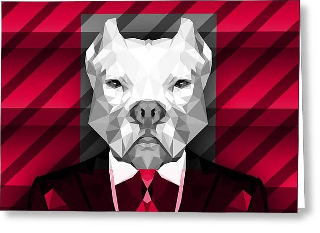 Abstract Pitbull 3 Greeting Card
