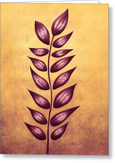 Abstract Plant With Pointy Leaves In Purple And Yellow Greeting Card by Boriana Giormova