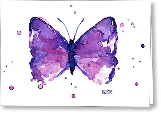 Abstract Purple Butterfly Watercolor Greeting Card
