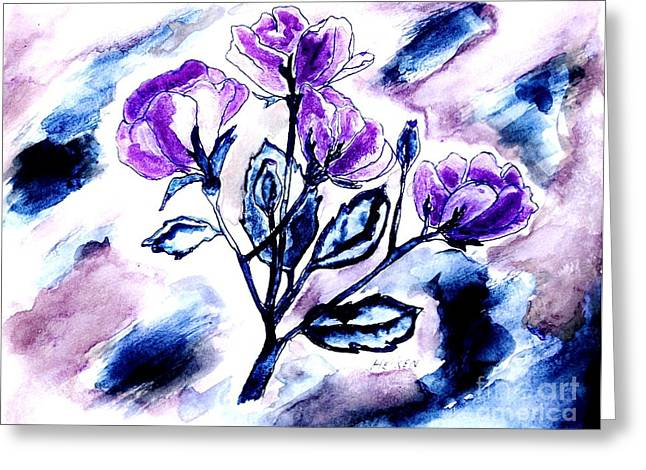 Abstract Purple Roses Greeting Card