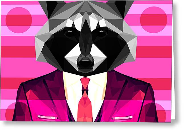 Abstract Raccoon Greeting Card