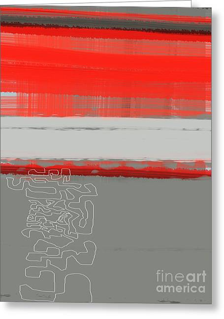Line Paintings Greeting Cards - Abstract Red 1 Greeting Card by Naxart Studio