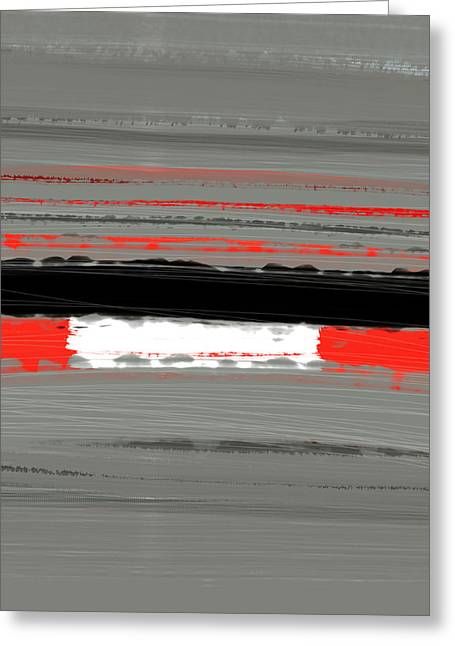 Line Paintings Greeting Cards - Abstract Red 4 Greeting Card by Naxart Studio