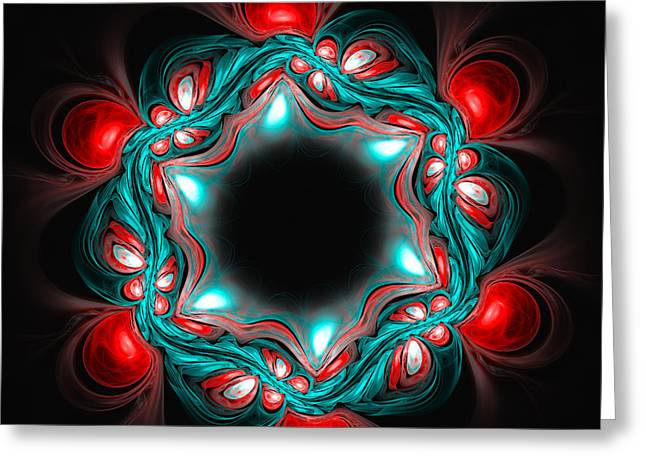 Abstract Red Blue Flower On Dark Background Greeting Card