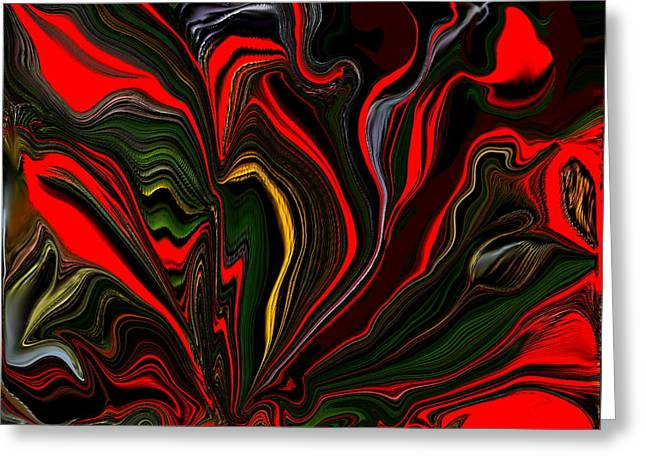 Digital Art Greeting Cards - Abstract- Red Flower Garden Greeting Card by Sherri  Of Palm Springs