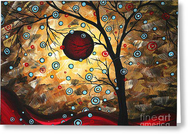 Abstract Red Moon Landscape Tree Art Terms Of Endearment By Megan Duncanson Greeting Card by Megan Duncanson
