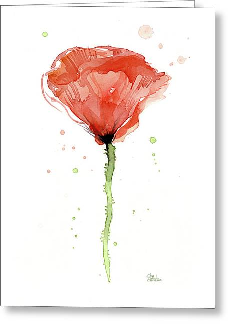 Abstract Red Poppy Watercolor Greeting Card