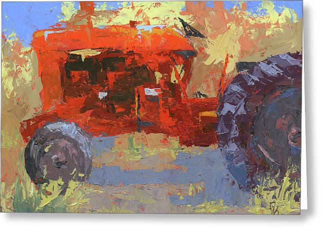 Abstract Red Tractor Greeting Card