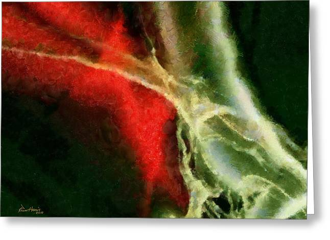 Abstract Red White Black Greeting Card by Russ Harris