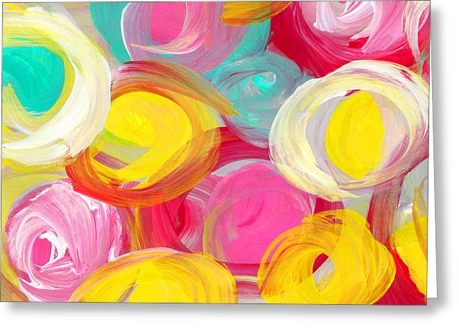 Abstract Rose Garden In The Morning Light 2 Greeting Card by Amy Vangsgard