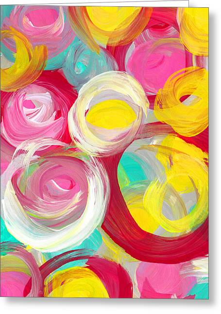 Abstract Rose Garden In The Morning Light Vertical 2 Greeting Card by Amy Vangsgard