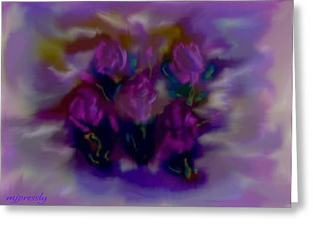 Abstract Roses Greeting Card by June Pressly