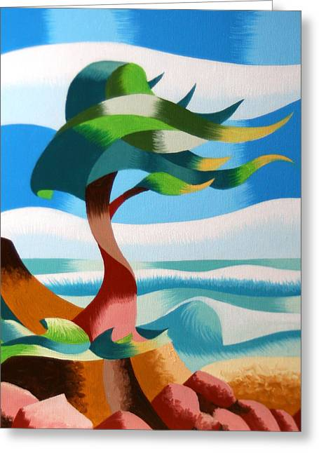 Abstract Rough Futurist Cypress Tree Greeting Card