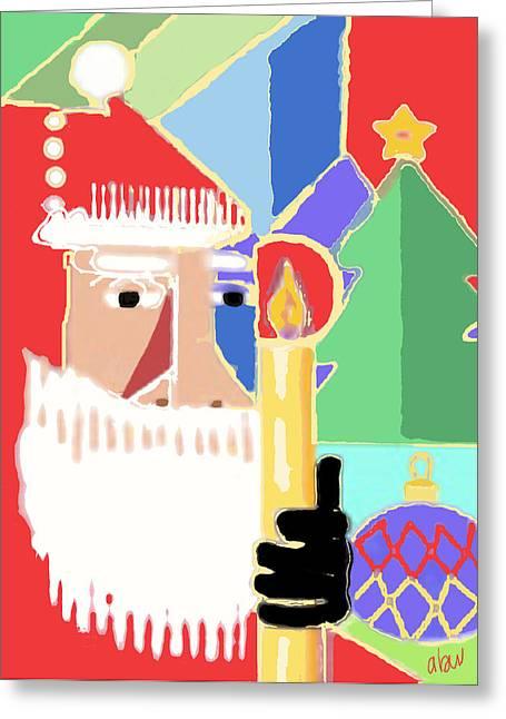 Abstract Santa Greeting Card by Arline Wagner
