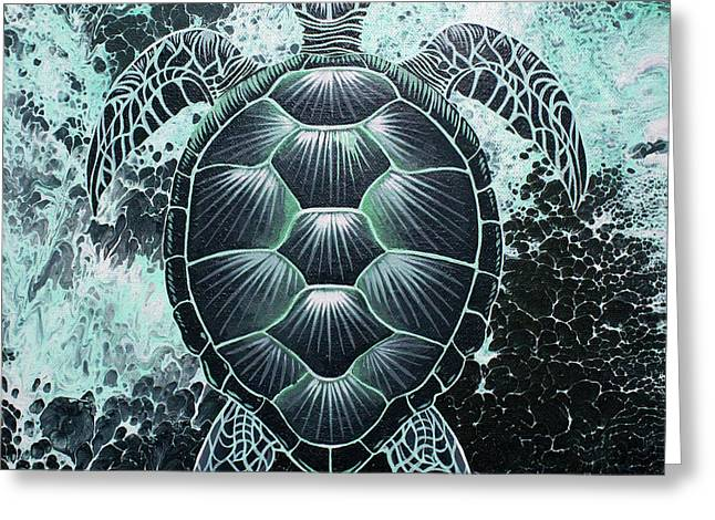 Greeting Card featuring the painting Abstract Sea Turtle by William Love
