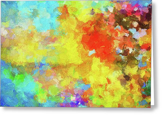 Greeting Card featuring the painting Abstract Seascape Painting With Vivid Colors by Ayse Deniz