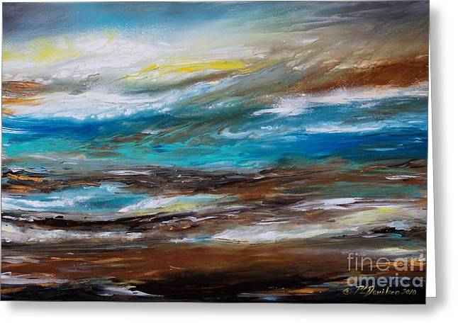 Abstract Seascape Greeting Card by Patricia L Davidson
