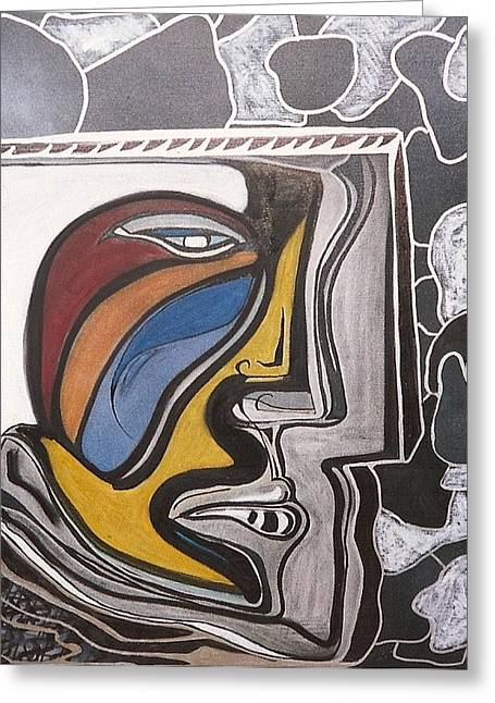Abstract Self Portrait 1988 Greeting Card by Jimmy King
