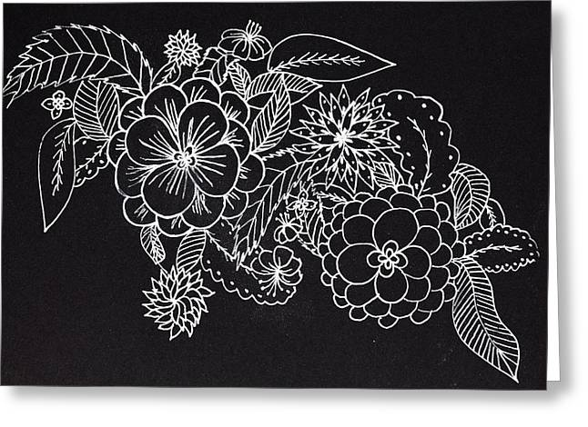 Abstract Sketch Design Of Floral Decoration Greeting Card