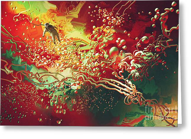 Greeting Card featuring the painting Abstract Space by Tithi Luadthong