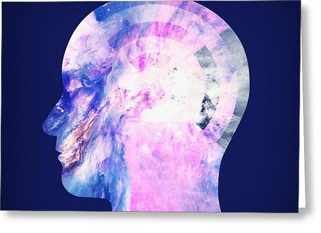 Abstract Space Universe  Galaxy Face Silhouette  Greeting Card