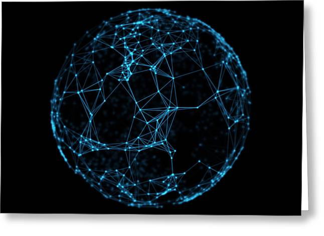 Abstract Sphere Geometry Orb And Polygonal Lines And Dots. Futuristic Technology Greeting Card by Michal Steflovic
