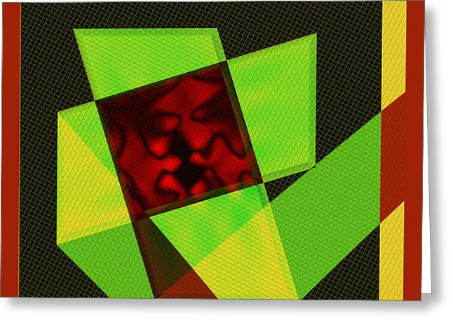 Greeting Card featuring the digital art Abstract Squares And Angles by Kae Cheatham