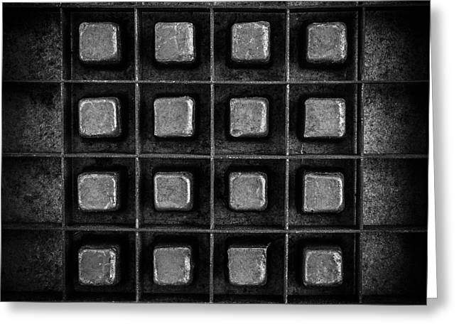 Abstract Squares Black And White Greeting Card by Edward Fielding