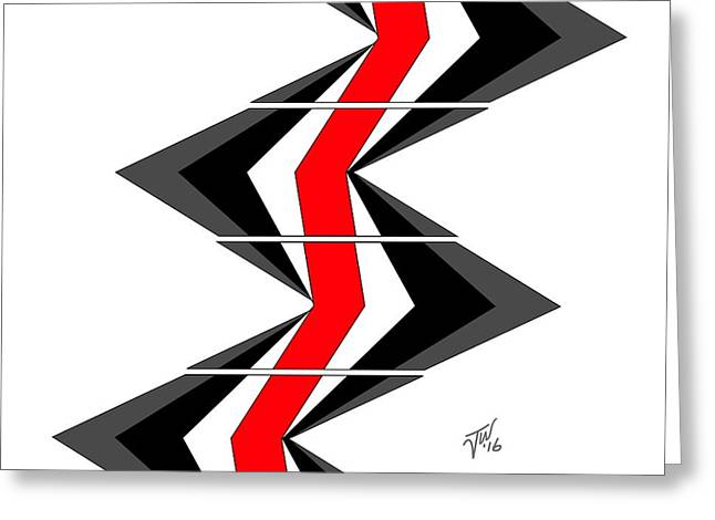 Greeting Card featuring the digital art Abstract Stairs by John Wills