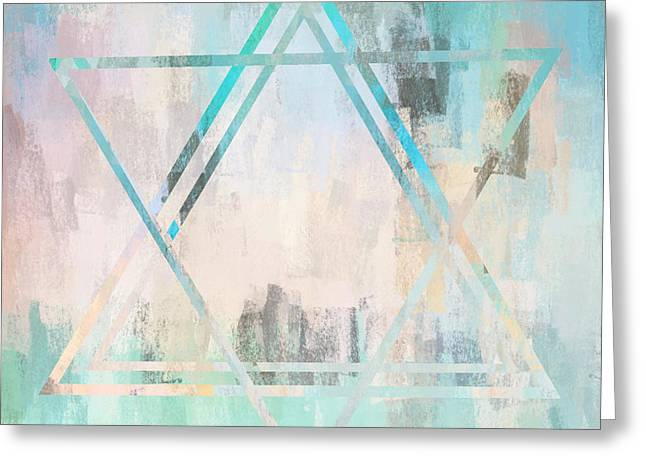 Abstract Star In Light Blue And Pink Greeting Card by Brandi Fitzgerald