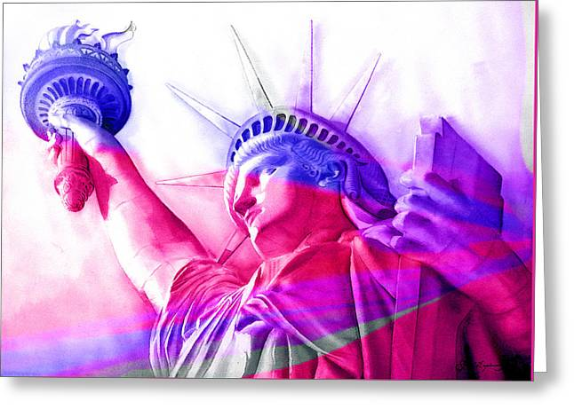 Greeting Card featuring the painting Abstract Statue Of Liberty 7 by J- J- Espinoza