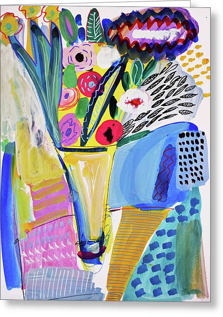 Abstract Still Life With Flowers Greeting Card by Amara Dacer