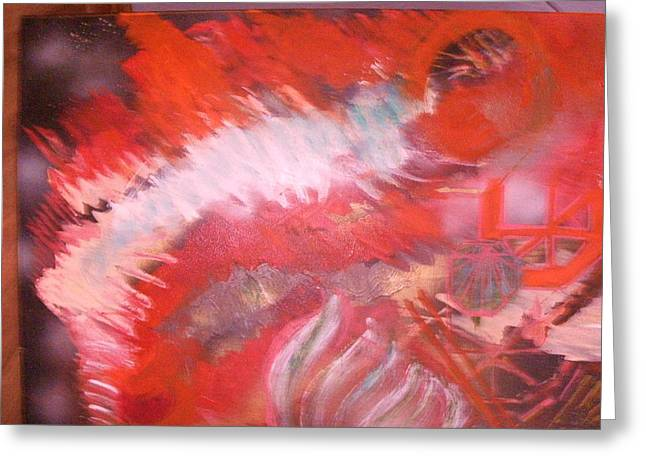 Abstract Study In Red  Greeting Card by Anne-Elizabeth Whiteway