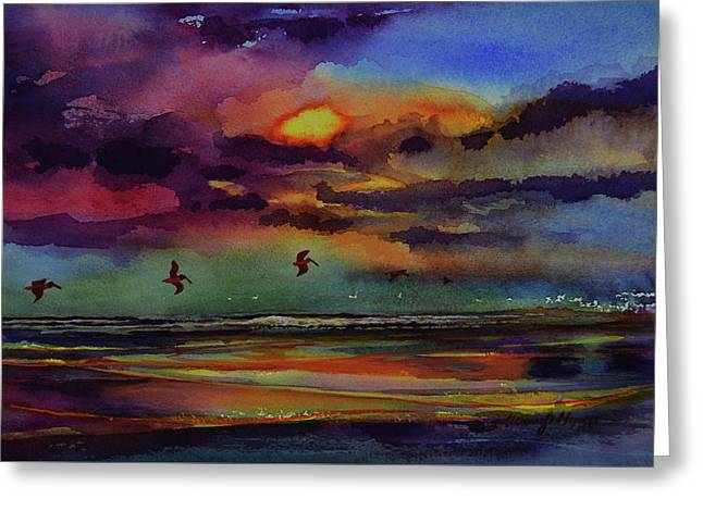 Abstract Beach Sunrise With Pelicans 7-10-17 Greeting Card