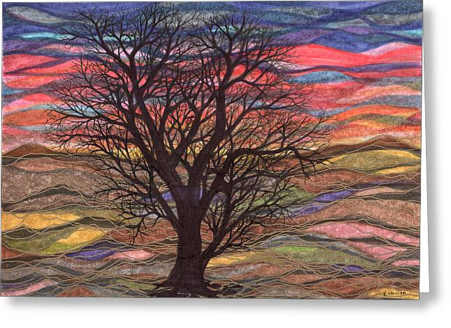 Abstract Sunset After Schiele Greeting Card by Regina Valluzzi