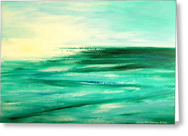 Abstract Sunset In Blue And Green Greeting Card by Gina De Gorna